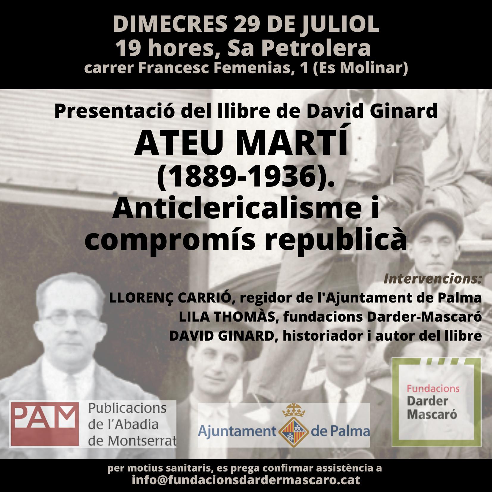 """Presentació del llibre """"Ateu Martí"""" (29-07-20)"""
