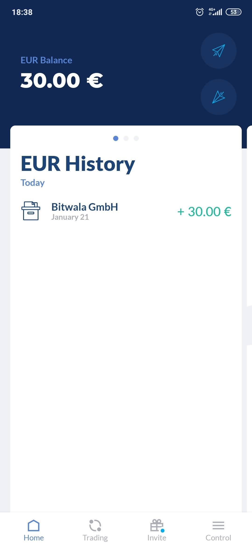 30€ GRATIS sólo por registrarse en  app crypto BITWALA