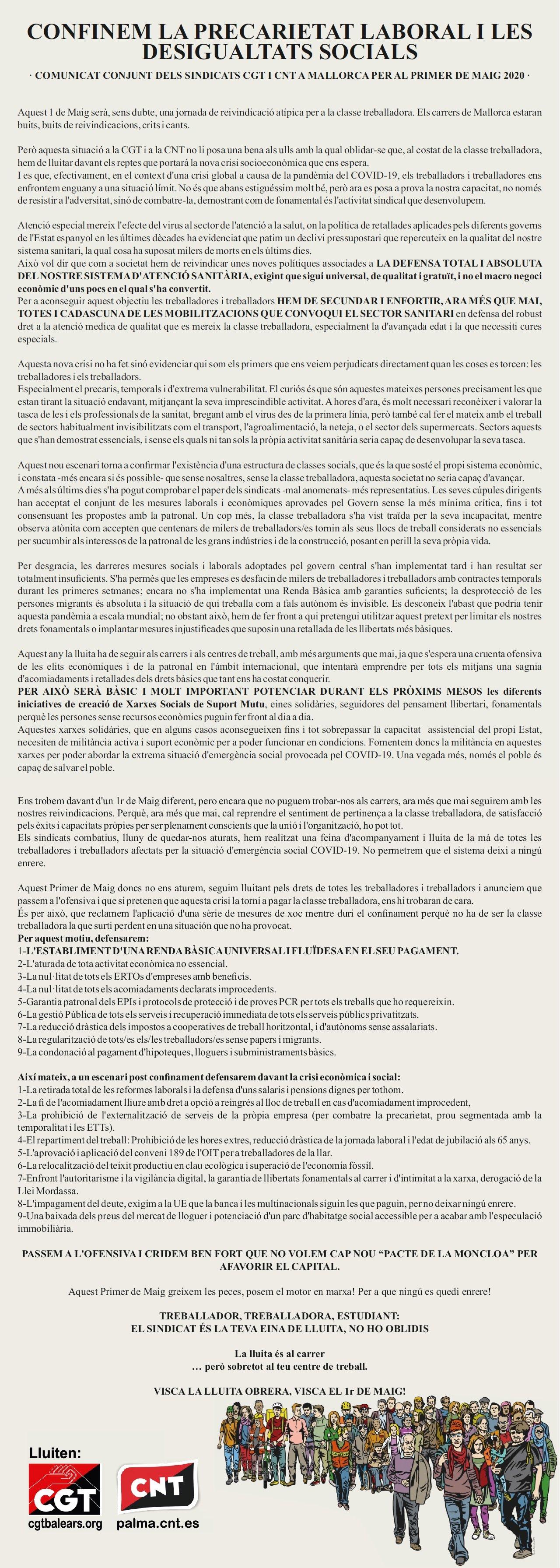 Confinem la precarietat laboral i les desigualtats socials (CGT-CNT)