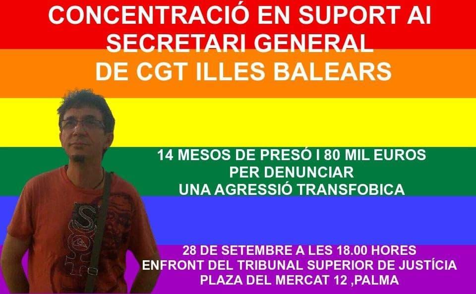 Concentració en suport del secretari de la CGT (28-08-21)