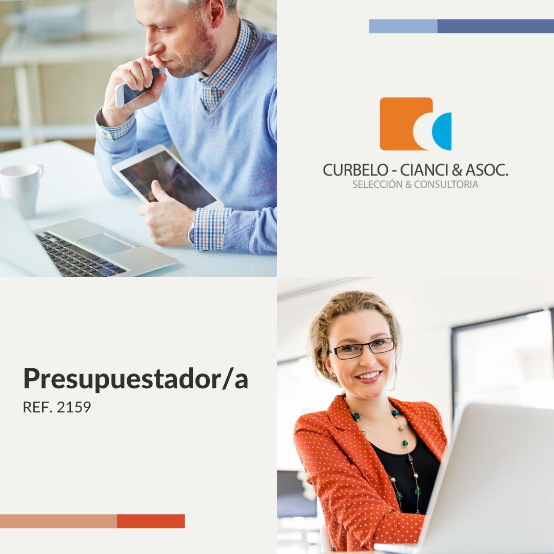Dos imágenes y el logo de la Consultora Curbelo, Cianci & Asoc. En una imagen hay un hombre maduro trabajando, en la otra una mujer sonriente.