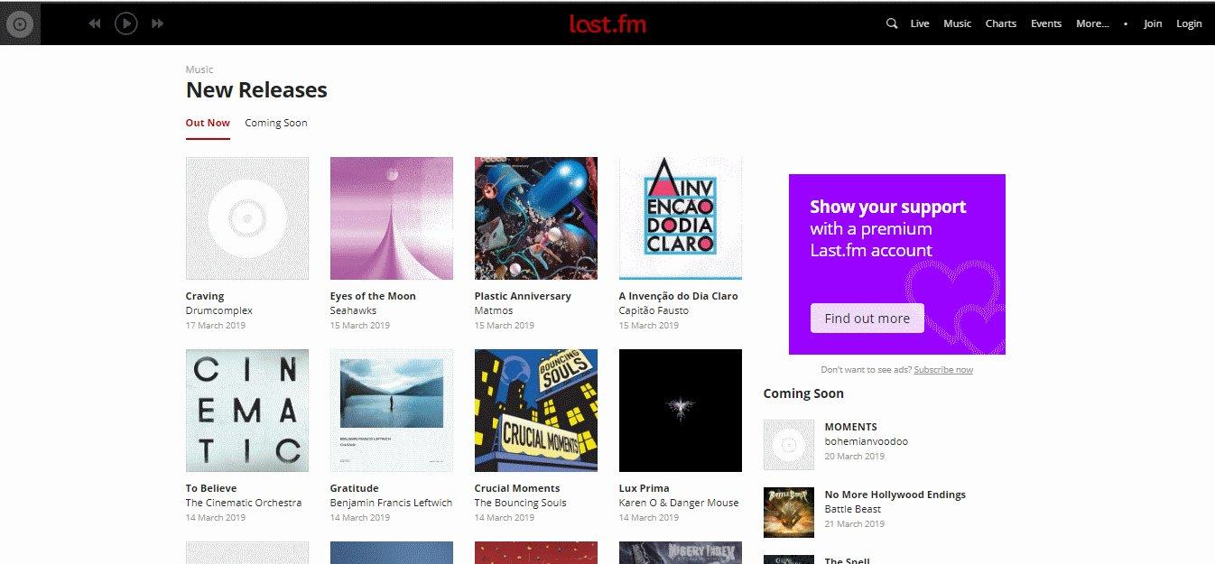 last.fm- Mejores Sitios de Descargas Gratuitas de Música