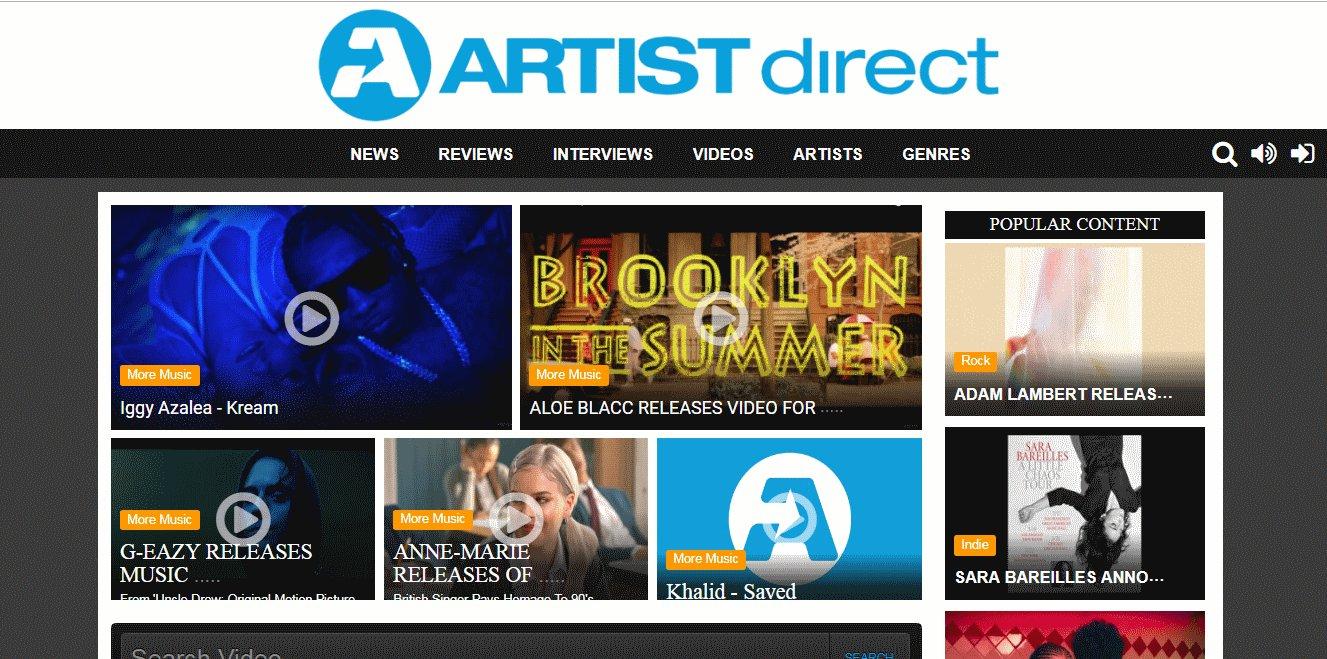 artist direct - Mejores Sitios de Descargas Gratuitas de Música
